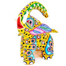 "Handmade Alebrijes Oaxacan Painted Carved Wood Folk Art Elephant 6"" Figure image 5"