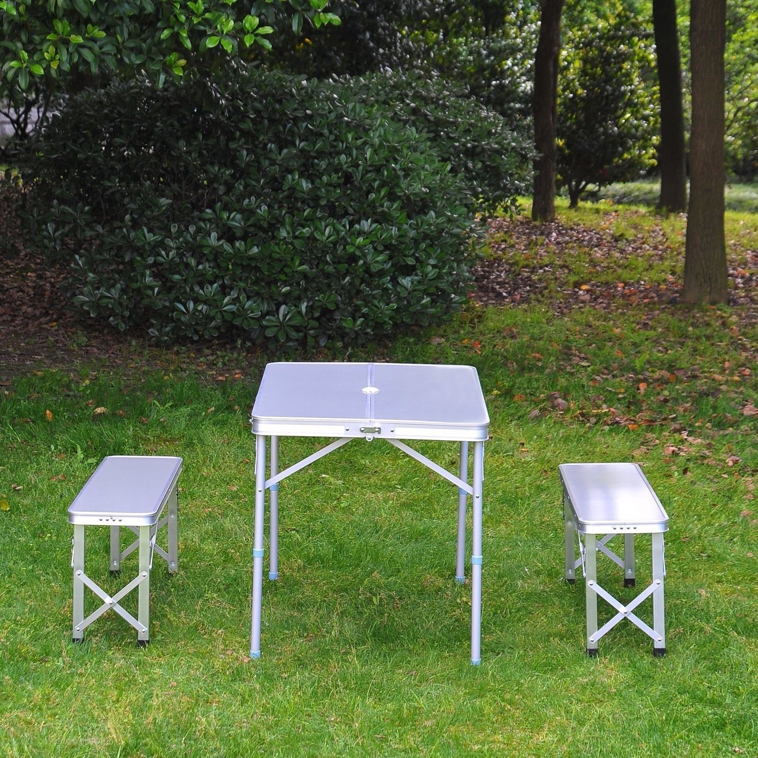 Portable Picnic Table Bench Set Outdoor Folding Garden Camping 3 pcs Alloy Set image 3