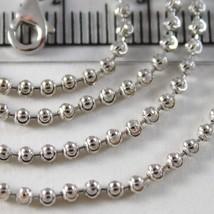 White Gold Chain Choker 750 18k, 40 CM, FACETED BALLS, 2 mm diameter image 2