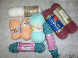 Variety 8 Skeins Baby Weight Acrylic Yarn - List Included - $9.90