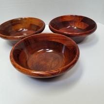 """Vintage Lot Of 3  Brown Band Bi Color Wooden Deep Salad Bowls 7"""" - $15.84"""