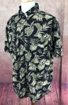 Chaps Ralph Lauren Short Sleeve Hawaiian Floral 100% Cotton Black Shirt Men's XL - $14.42