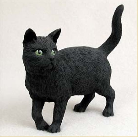 SHORTHAIRED BLACK TABBY CAT Figurine Statue Hand Painted Resin Standing