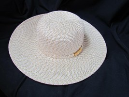 Nine & Co Ivory Brown Dressy Hat with Wood Accent Floppy Hat One Size - $23.74