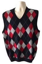 Brooks Brothers Extra Fine Italian Merino Black Red Argyle Sweater Vest ... - $79.99