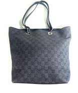 Gucci GG Logo Handbag Tote Black Canvas Leather with Certificate of Authenticity - $495.95