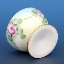Vintage Open Salt Dip Cellar Footed Porcelain Hand Painted Roses image 3
