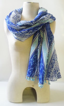 STELLA & DOT GENUINE Capri Wrap Scarf INDIGO IKAT Cotton/Acrylic Blend 4... - $21.80