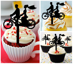 Wedding,Anniversary Cupcake topper,silhouette wedding couple bicycle : 10 pcs - $10.00