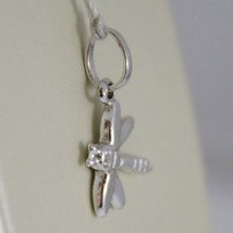 18K WHITE GOLD FLAT DRAGONFLY PENDANT CHARMS, 17 MM SMOOTH BRIGHT MADE IN ITALY image 2