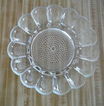 Vintage Indiana Glass Deviled Egg Plate Tray Beaded Hobnail Pattern  - $19.75