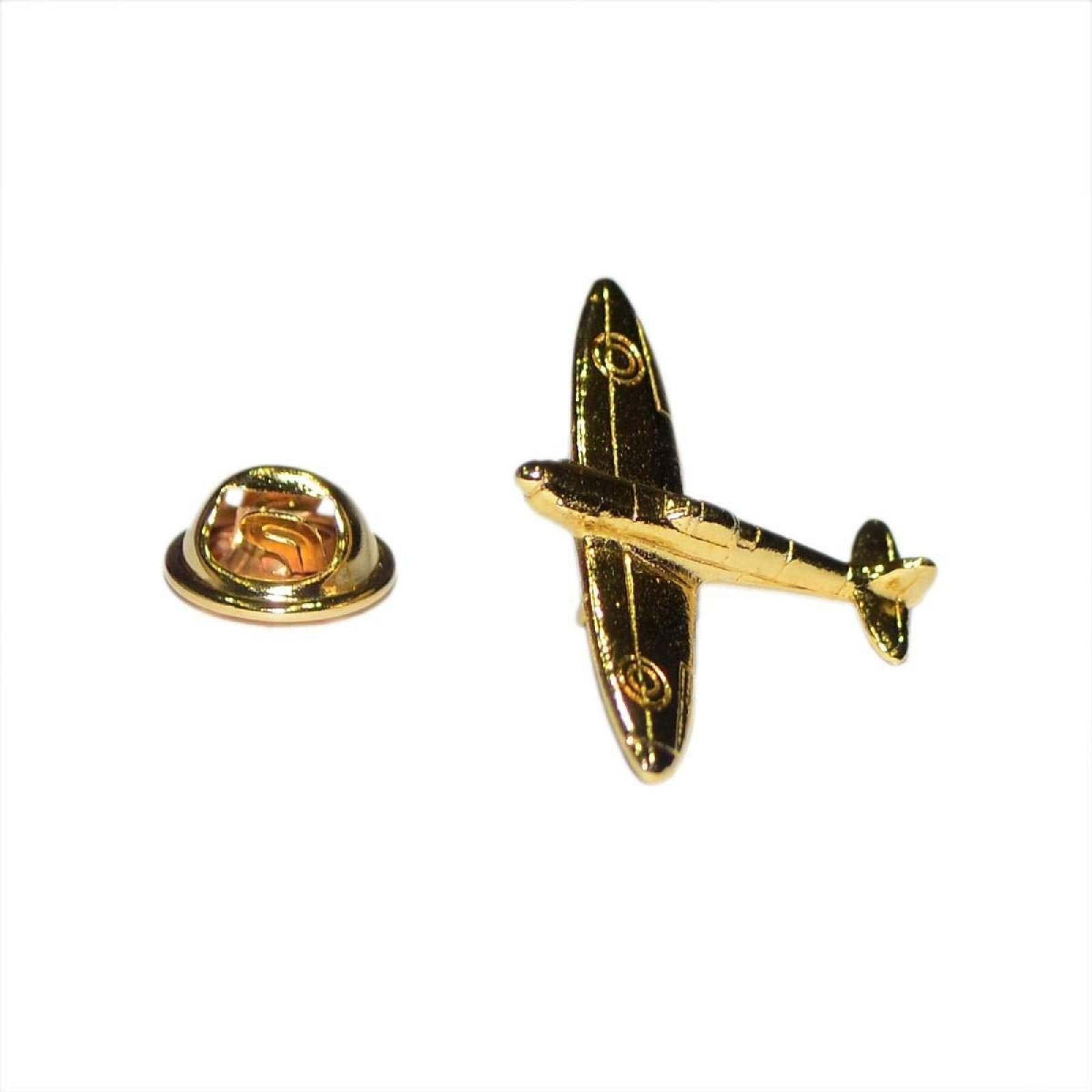 gold Plated the british iconic spitfire Lapel Pin Badge / tie pin ww2 aircraft