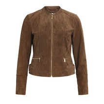 New Camel Colour short Length Round neck Women's Genuine Suede Jacket