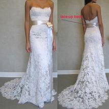 Elegant Sweet Lace Wedding Dress Mermaid With Belt Women Wedding Gowns W... - $90.00