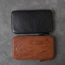 On Sale, Full Grain Leather Long Wallet, Handmade Card Holder Wallet, Long Clutc image 6