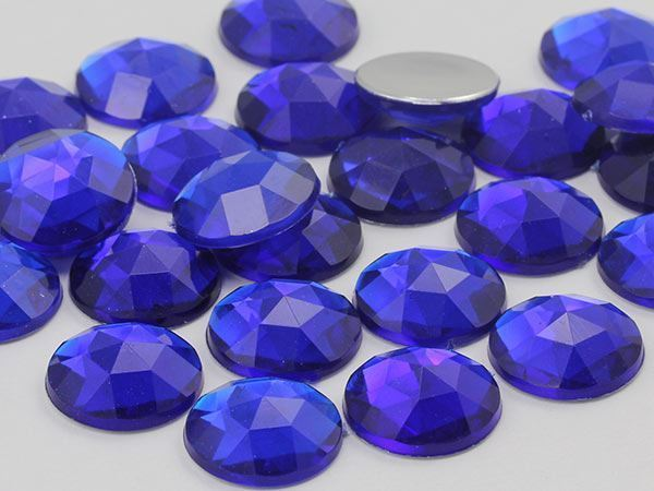 11mm Blue Sapphire Dark .NAB01 Flat Back Round Acrylic Gems - 75 Pieces