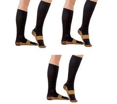 3 Pair Black/Gold Sm/Med - TASOM Compression Socks Over the Calf Below K... - £14.31 GBP