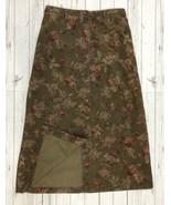 Vtg Eddie Bauer Sz 12 Maxi Flora Corduroy Button Front Womens Olive Gree... - $21.85