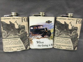 Set of 3 Mix Vintage Car Ads Flask 8oz Stainless Steel Hip Drinking Whiskey - $17.38