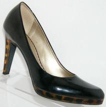 Jessica Simpson Lucite Gold-lined black patent leopard platform heel 8B ... - $22.12
