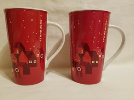 PAIR Starbucks Tall Coffee Tea Mug 2013 16 oz Red Christmas Holiday Red ... - $49.49