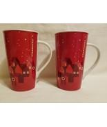 PAIR Starbucks Tall Coffee Tea Mug 2013 16 oz Red Christmas Holiday Red ... - $49.49