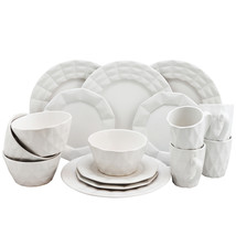 Elama Retro Chic 16-Piece Glazed Dinnerware Set in White - $40.69