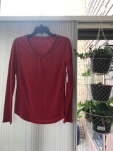 Attention Women's Size M Shirt Red Long Sleeve Top Ships N 24h - $14.75