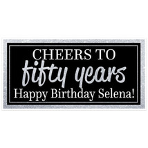 Custom Chic 50th Birthday Banner Black and Silver Party Decoration Backdrop - $22.28