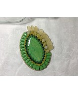 Brooch Oval Very Large Bead Embroidered Handmade Polymer Clay Focal Gree... - $49.00