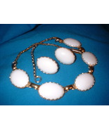 Vintage  Plastic White Jewelry Set On Gold Tone  - $25.00
