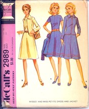 Uncut 1970s Size 16 Bust 38 6 Gore Skirt Lined Jacket McCalls 2989 Pattern - $8.99