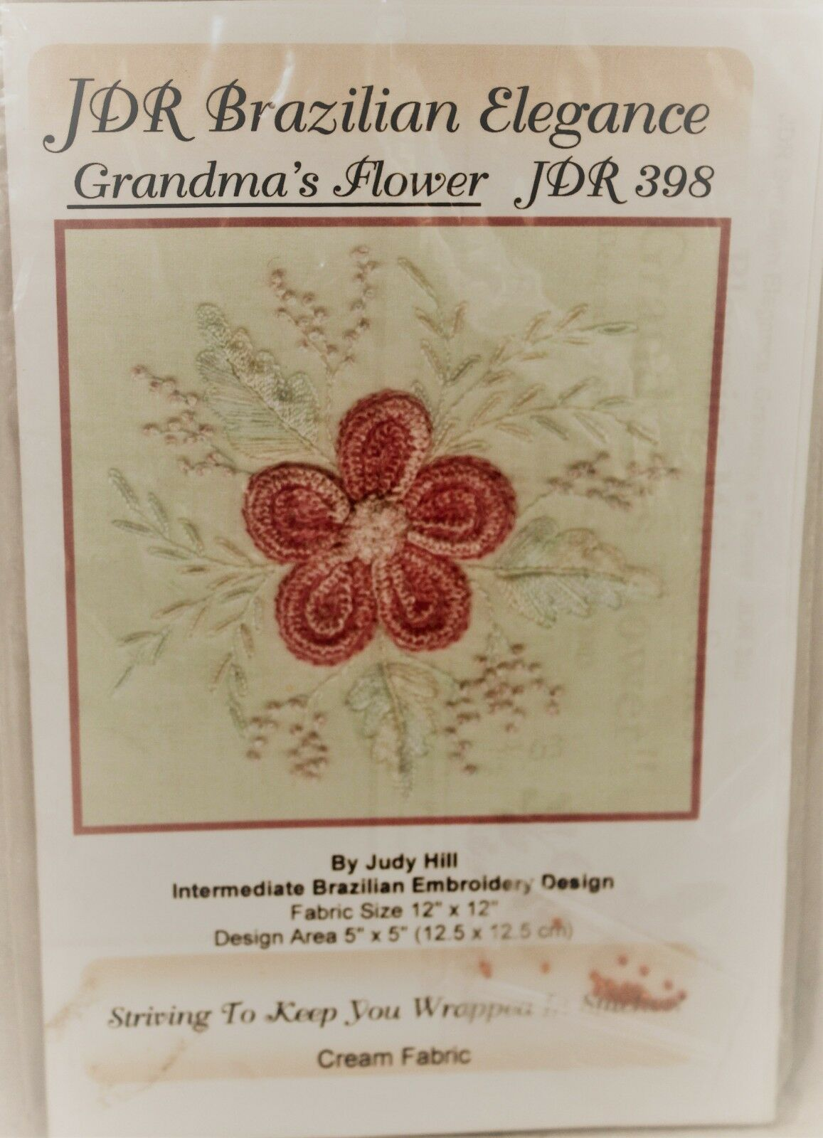 Primary image for JDR Brazilian Embroidery Kit, Grandma's Flower JDR398 Judy Hill Cream fabric NEW