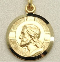 SOLID 18K YELLOW GOLD JESUS CHRIST REDEEMER 19 MM MEDAL, PENDANT, MADE IN ITALY image 1