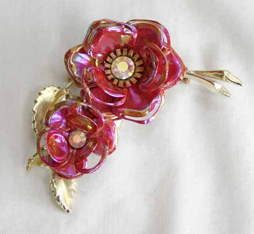 Primary image for AB Rhinestone & Enamel Flower 60s Gorgeous Brooch