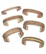 3 Mixed Styles Copper Cuff Braceletes w/ Brass Accents~ Arthritis Therap... - £11.96 GBP