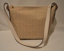 Coach 25698 Signature Dufflette Shoulder Bag Light Khaki & Chalk NWT - $123.75