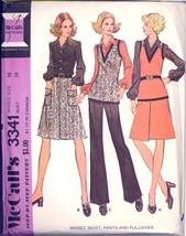 Uncut 1970s Size 16 Bust 38 Skirt Pants Pullover Vest McCalls 3341 Pattern - $8.99