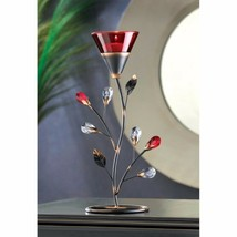 Ruby Red Flower Blossom Tealight Candle Holder Jeweled Stem - $25.95