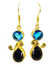 delicate Blue Topaz Cz Black onyx Gold Plated Blue Earring Natural jewelry US gi - $14.84