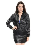 Black faux leather cross print all over zipper front jacket  - $17.99