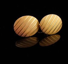 Groom cufflinks / Vintage brushed gold / stripe set / gold plate tuxedo ... - $75.00