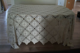 Vintage Diamond Pattern Crochet Bedspread Coverlet Tablecloth 116x96 - $220.00