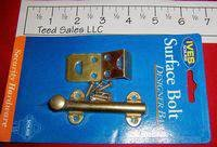 "IVES Brass Plated 3"" Surface Bolt Model 55059"