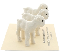 Hagen-Renaker Miniature Ceramic Lamb Figurine Baby White Set of 3 image 2