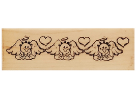 Stampendous 1990 Angelic Border Wood Mounted Rubber Stamp #G23 - $2.99