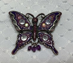 Vintage Silver Tone Metal Butterfly Brooch Pin Iridescent AB Rhinestones - $14.99