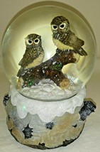 Great Horned Owls Perched On Tree Branch Water Globe Snow Globe Music Box - $24.74