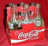 Vintage Coca Cola Classic 6 pack of 8 oz bottles in Carton