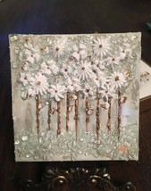 Textured Paint with Glass Flowers, Block Art, Glass Art, Crushed Glass, ... - $45.00+